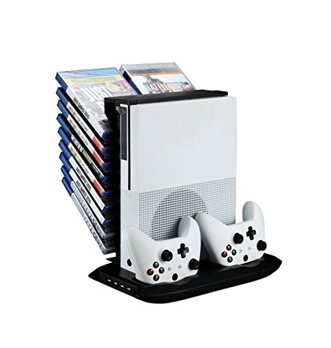 FastSnail Xbox One S Vertical Stand Cooling Fan with Game Discs Storage Tower Mounts & Dualshock Charger, Controller Charging Station for Xbox One S (Xbox Game Disk)