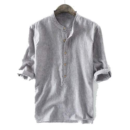 Seller-Wu Brand Quality Male Shirts Casual Half Sleeve Cotton Linen Shirt Men Fashion Solid Shirt,Grey,4XL]()