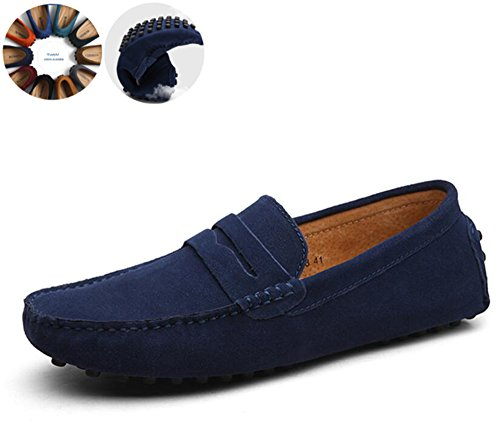 Go Tour Men's Penny Loafers Moccasin Driving Shoes Slip On Flats Boat Shoes Dark Blue 49