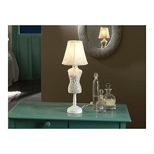 Schuller Spain 764903I4L Vintage White Mannequin Table Lamp 1 Light Living Room, bed room, Study, Bedroom LED, Vogue Crochet table Lamp | ideas4lighting by Schuller