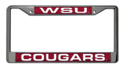 (Rico Industries NCAA Washington State Cougars Laser Cut Inlaid Standard Chrome License Plate Frame )