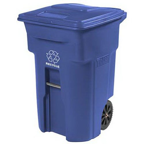 Toter 025564-R1BLU Residential Heavy Duty 2-Wheeled Recycling Can with Attached Lid, 64-Gallon, -