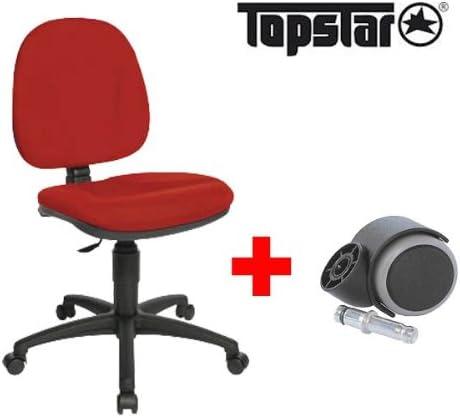 rot Topstar Drehstuhl Chair 40 5 Rollen f/ür harte B/öden mit 5 Rollen f/ür weiche B/öden