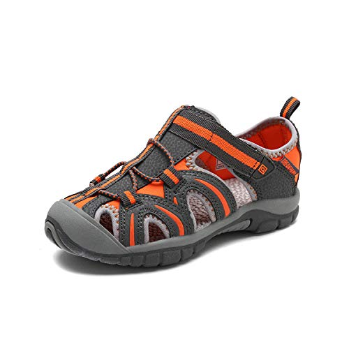 (DREAM PAIRS Boys Girls 171112-K Grey Orange Light Grey Outdoor Summer Sandals Size 12 M US Little Kid)
