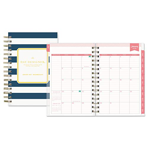 Day Designer for Blue Sky 2019 Daily & Monthly Planner, Flexible Frosted Cover, Twin-Wire Binding, 5