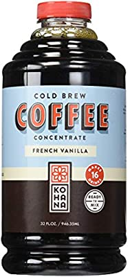 Kohana Cold Brew Coffee Concentrate, Conventional, French Vanilla, 32 Ounce, Best Zero Calorie Low Acid Iced Coffee, Instant, Convenient and On The Go, Makes 16 Drinks, Single Bottle