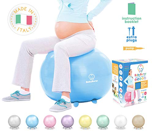 Exercise Birth Ball by BABY BUMP - No-Rolling Stability-Base + Feet/Legs for Pregnancy Fitness Workout - Home Office Desk Seat - Cute Colors and Box for Shower Gift - Heavy Duty - No Air Leak + Pump