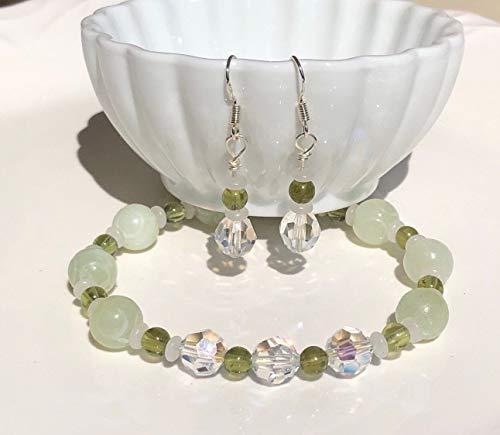 Swarovski Jade Bracelet - Soochow Jade with Moonstones Peridot and Swarovski Crystals Bracelet and Earring Set