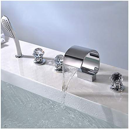 浴槽の蛇口真鍮の浴室の浴槽の蛇口の滝のシャワーセット3ハンドル5ホールデッキハンドヘルドシャワー、温水と冷水を備えた浴槽タップ
