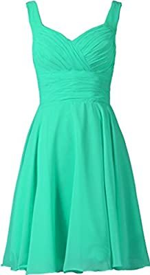 ANTS Women's V-neck Chiffon Bridesmaid Dresses Short Prom Gown