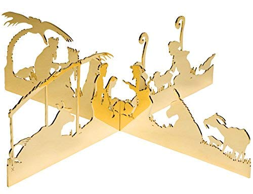 (Valerie Atkisson Modern Silhouette Centerpiece Nativity for Tabletop, 24K Gold Plated)