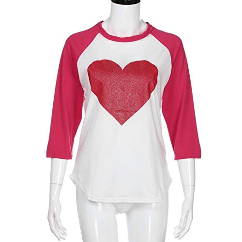 Pandaie Women Jacket,Women Long Sleeve Round Neck Love Heart Printing Shirt Top Blouse XL by Pandaie (Image #3)