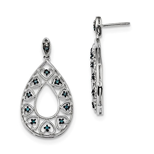 Sterling Silver Dangle White & Blue Diamond Post Earrings by CoutureJewelers