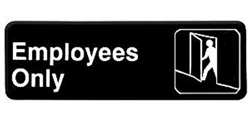 EMPLOYEES ONLY door sign business restaurant office commercial plastic entrance self stick / self adhesive - black - 9in. x 3in. work place private privacy