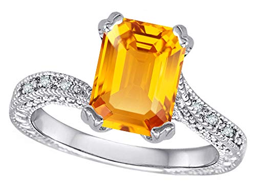 (Star K Antique Vintage Style Emerald Cut 8x6 Genuine Citrine Solitaire Engagement Promise Ring 14k White Gold Size 9)