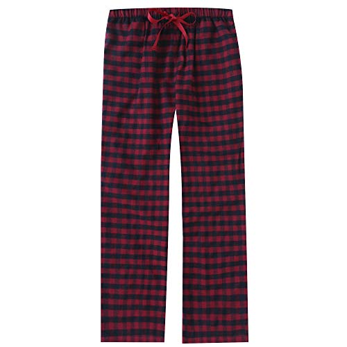 Womens Drawstring Flannel Pants - Noble Mount Women's Cotton Lightweight Flannel Lounge Pants - Gingham Red-Black - M