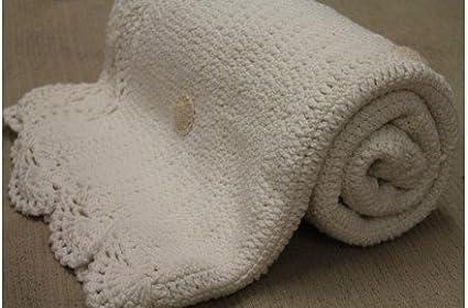 Lorena Canals Manta Crochet Modelo Galleta Color Blanco
