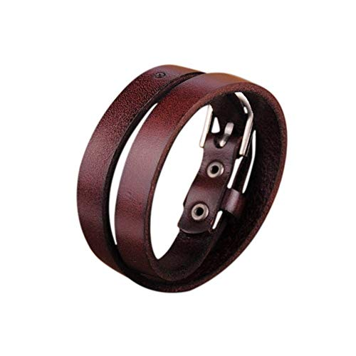 Zen Styles Brown Biker Rock Classic Double Wrap Leather Cowhide Buckle Bracelet - Round Cuff Bracelet with Easy Hook Clasp for Men. Fashion Accessories