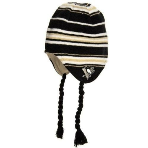 Reebok Pittsburgh Penguins Black Tassle Knit Hat