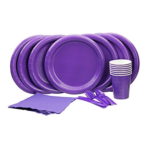 Lovely Purple Party Set! Includes Purple Dinner Plates, Cutlery, Napkins and Cups