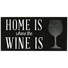 Malden 20038-01 Designs Laser Cut Wood Block Sign Home is Where The Wine is Wall Décor Box, 5 X 10, Black