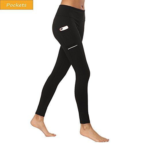 Olacia Yoga Pants Black Leggings With Pockets High Waisted Tummy Control workout leggings Power Soft Lightweight Tights Flex Sports Running S