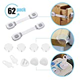 Baby Proofing,62 Pack Cabinet Locks Child Safety- 6 Baby Safety Cabinet Locks,36 Outlet Plugs +6 Keys,20 Corner Protectors,Keep Your Baby Safety in Home