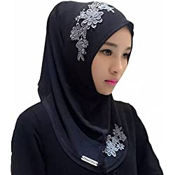 Ababalaya Lace Applique Ready to Wear Islamic Hijab, Color9