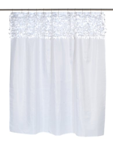 Carnation Home Fashions Jasmine Fabric Shower Curtain, White