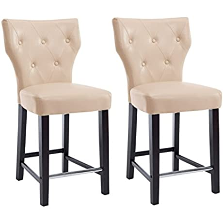 CorLiving DAD 718 B Kings Counter Height Bar Stool Chair In Cream Bonded Leather 25 Seat Height Set Of 2