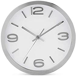Bernhard Products - Wall Clock 10 Inch Modern Silver Round Elegant Metal Quality Quartz, Silent Non Ticking Battery Operated Home Office Clock with 3D Numbers