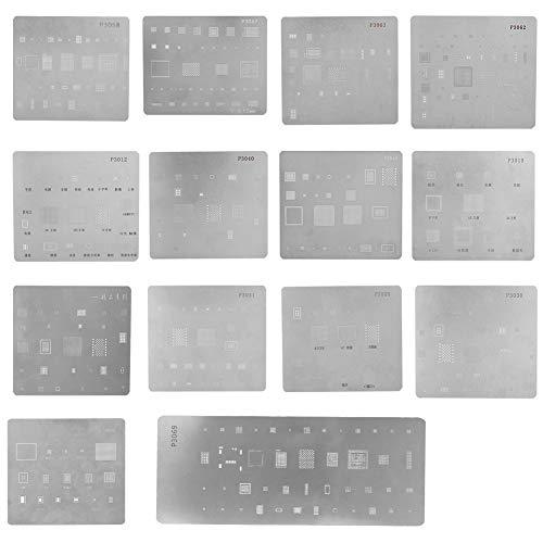 Zopsc 14PCS BGA Reballing Stencils Multi-Purpose High Precision IC Chipset Template for iPhone CPU Repair
