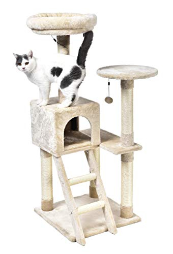 AmazonBasics Extra Large Cat Tree with Cave And Step Ladder - 19 x 50 x 19 Inches, Beige