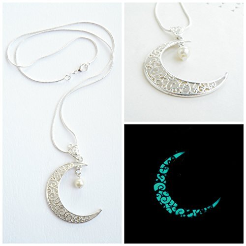 Turquoise, Aqua blue Glowing pendant Crescent Moon pendant Glowing Moon jewelry Silver plated chain Moon necklace Glowing in the dark jewelry Glowing - Blue Polymer Beads Clay Moon