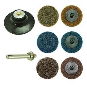 Superior Pads and Abrasives PP30K 3'' Diameter 7pcs Twist Lock Spindle / Disc Surface Conditioning Kit