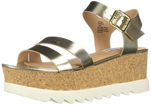 Steve Madden Women's KEYKEY Sandal Gold Leather 8 M - Wedge Steve Madden Platform