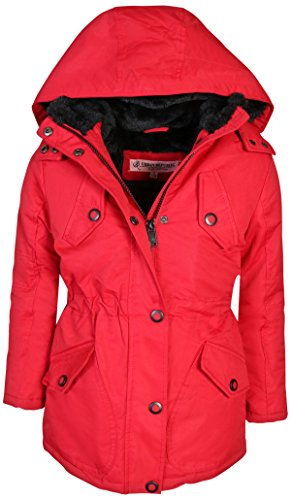 Lined Red Jacket - Urban Republic Girls Heavyweight Faux Fur Lined Anorak Hooded Jacket, Red, Size 6X'