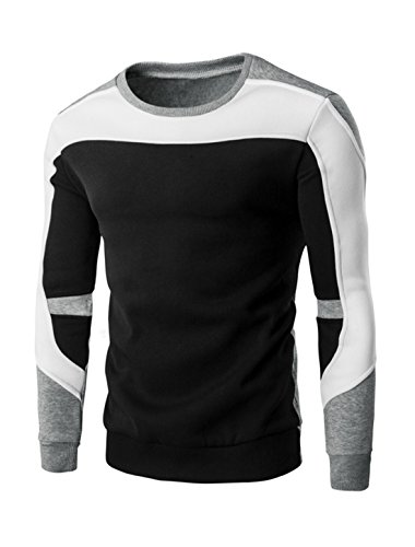 Man Long Sleeve Ribbed Trim Soft Lining Color Block Sweatshirt M Black