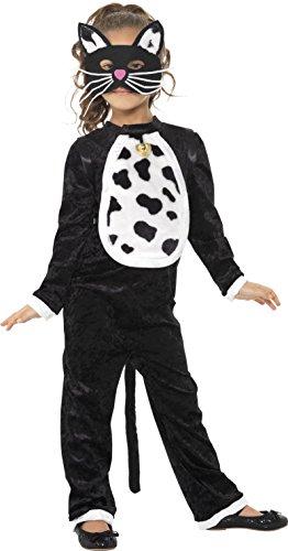 Smiffy's Children's Cat Girl Costume, Bodysuit, Bell & Mask, Colour: (Children's Cat Costume Uk)