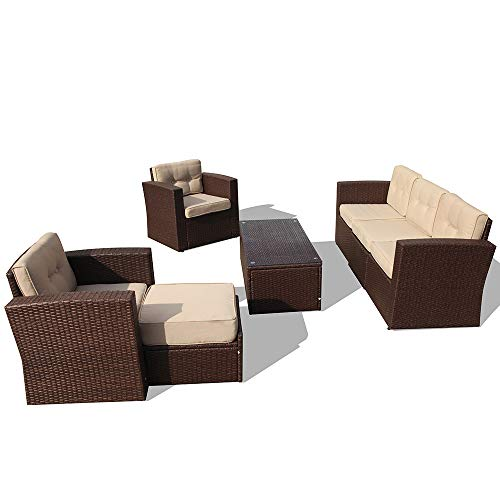 (PATIORAMA Outdoor Rattan Sectional Furniture Set with Beige Seat and Back Cushions, Red Throw Pillows, Aluminum Frame, Espresso Brown PE Wicker (7 Pieces))