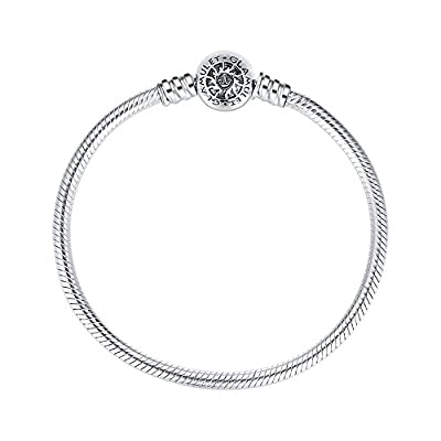 Glamulet Jewelry - 19 cm Round Clip Classic Bracelet -- 925 Sterling Silver -- Fits Pandora Charm