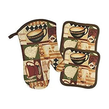 Coffee Cups & Pot Theme Kitchen Linen 7 Piece Set (Includes: one oven mitts, two kitchen towels, and two pot holders)
