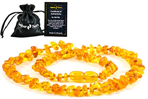 Baltic Amber Teething Necklace for Babies - Anti Inflammatory, Drooling and Teething Pain Reducing Natural Remedy - Made of Highest Quality Certified Baltic Amber