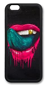 Red lips and green tongue TPU Silicone Case Cover for iphone 6 plus 5.5 inch Black