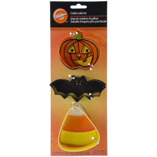 Wilton Bat Candy Corn Pumpkin Metal Cookie Cutter Set -