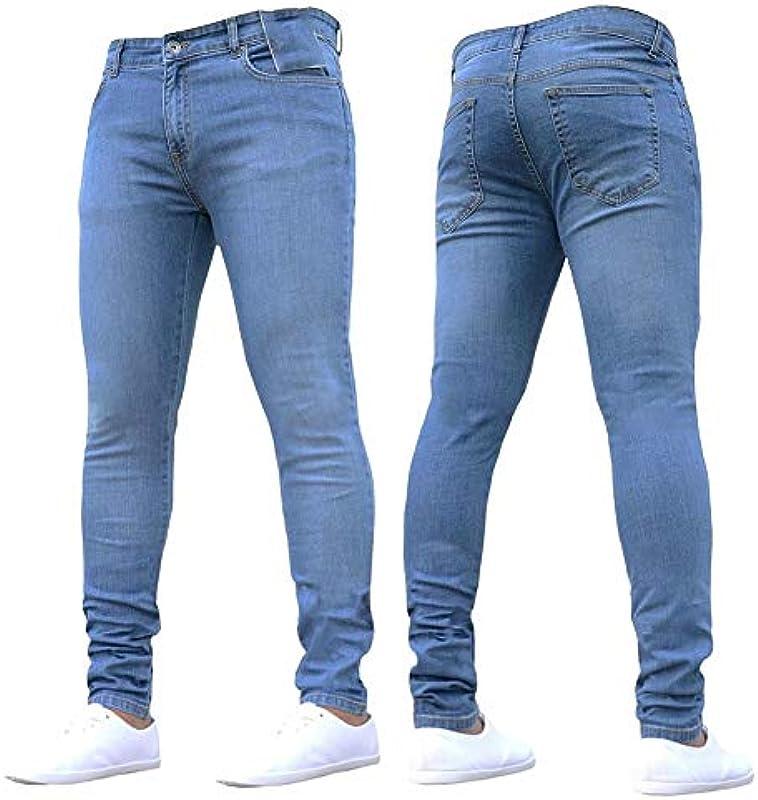 Nowe jeansy rurki męskie czarne klasyczne Hip Hop Stretch Jeans Slim Fit Moda znane marka Biker Style wąskie zerwane dżinsy męskie S błękitne: Sport & Freizeit