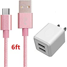 USB Type C Cable, AOKER Dual USB Portable Travel Wall Charger + 6FT USB C to USB A Cable for Samsung Galaxy Note 8,S8,S8 Plus, LG G6 G5 V30 V20, Google Pixel, Nintendo Switch, and More (Pink)