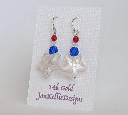 Stars and Stripes -Solid 14k White Gold Venetian Murano Glass Star Earrings (Blue 14k Venetian Glass Gold)