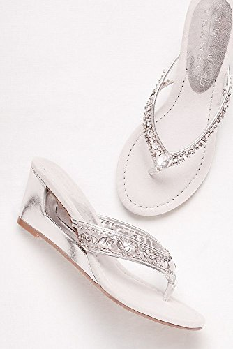 Davids Bridal Embellished Wedge Sandals Style Funtime Silver Xr0VGD28