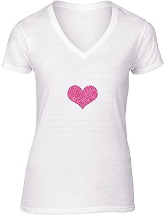 Camiseta Blanca con V-Cuello para Mujer - Tamaño XL - Corazón Rosado En Negro Brillo by Djuranne: Amazon.es: Ropa y accesorios